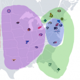 A map of the NHL cities, with the new conferences colored in.
